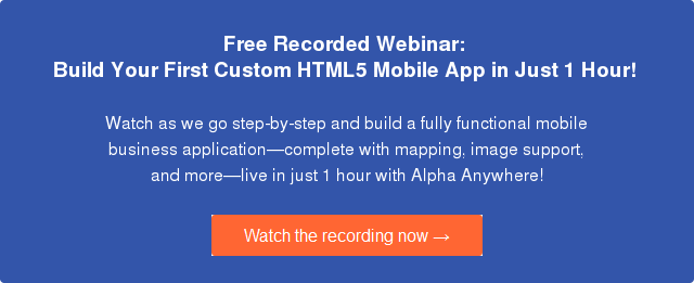 Mobile development tools for building HTML 5 mobile apps in just 1 hour