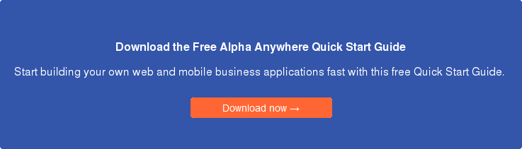 rapid mobile app development with Alpha Anywhere
