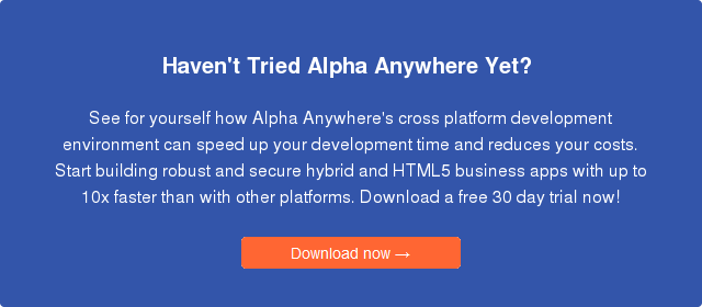 Enterprise app development platform, Alpha Anywhere