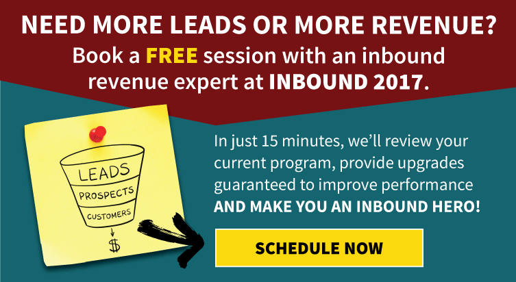 Book a free session with an inbound revenue expert at INBOUND 2017.