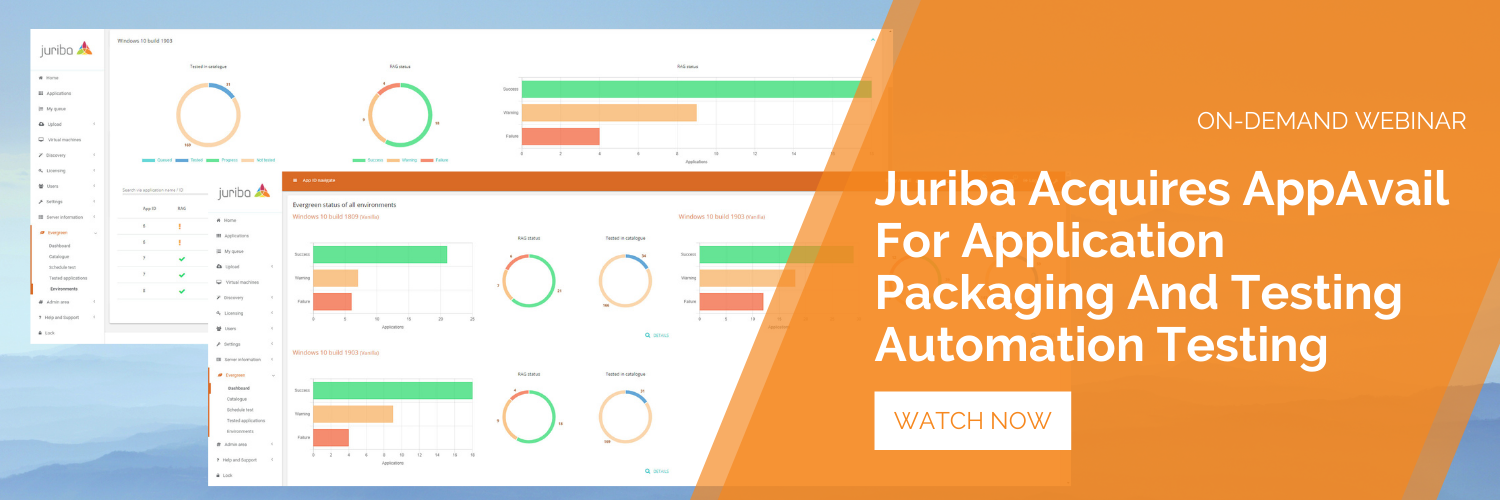 Join us for our upcoming live webinar Juriba Acquires AppAvail For End-to-End App Packaging & Testing Automation.