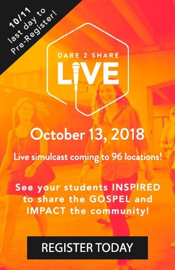 Dare 2 Share LIVE coming October 13, 2018 to more than 91 locations!