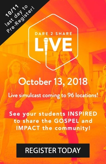 Dare 2 Share LIVE coming October 13, 2018 to 95 locations!