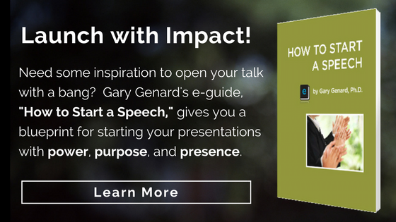 Dr. Gary Genard's powerful e-book, How to Start a Speech.