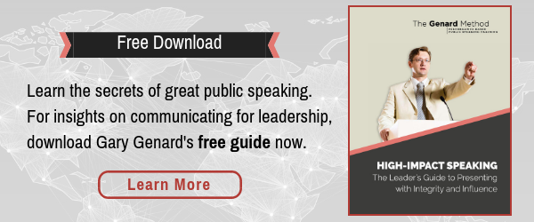 Dr. Gary Genard's free e-book, High-Impact Speaking: The Leader's Guide to Presenting with Integrity and Influence.