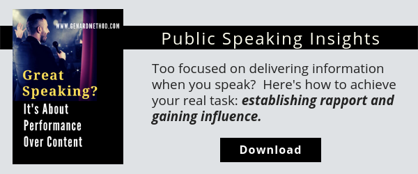 Dr. Gary Genard's free resource, Great Speaking? It's About Performance Over Content
