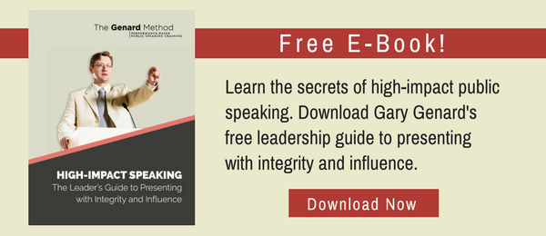 Dr. Gary Genard's free resource for speaking for leadership: High-Impact Speaking - The Leader's Guide.