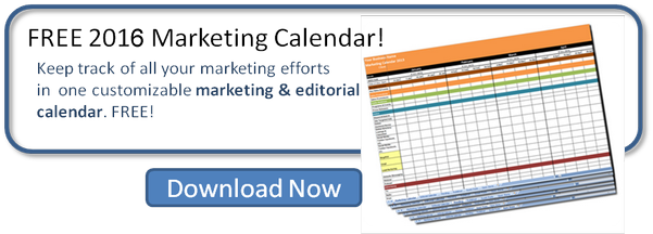 FREE 2016 marketing and editorial calendar