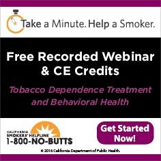Free Continuing Education Course--Tobacco Treatment and Behavioral Health