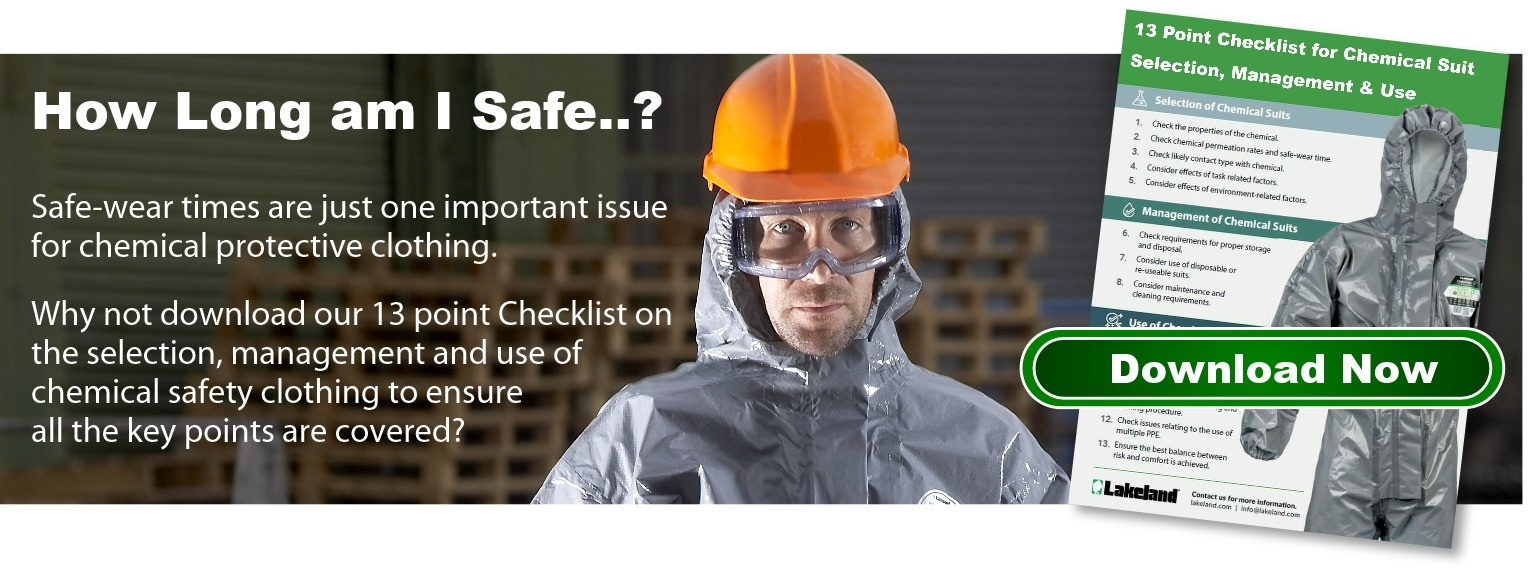 Download the 13 point checklist for chemical suit selection, management & use.