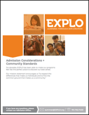 Download  Admissions Considerations +  Community Standards (PDF)