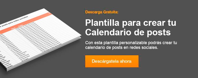 Plantilla calendario de posts en redes sociales