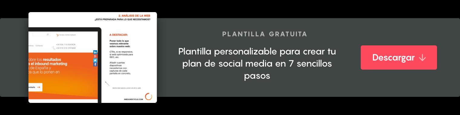"""Haz clic aquí para descargartela plantilla """"Plan de social media en 7 pasos"""""""