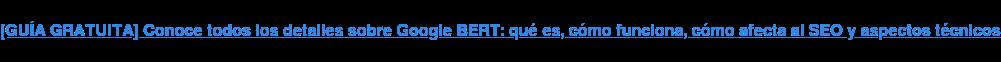 [GUÍA GRATUITA] Conoce todos los detalles sobre Google BERT: qué es, cómo  funciona, cómo afecta al SEO y aspectos técnicos