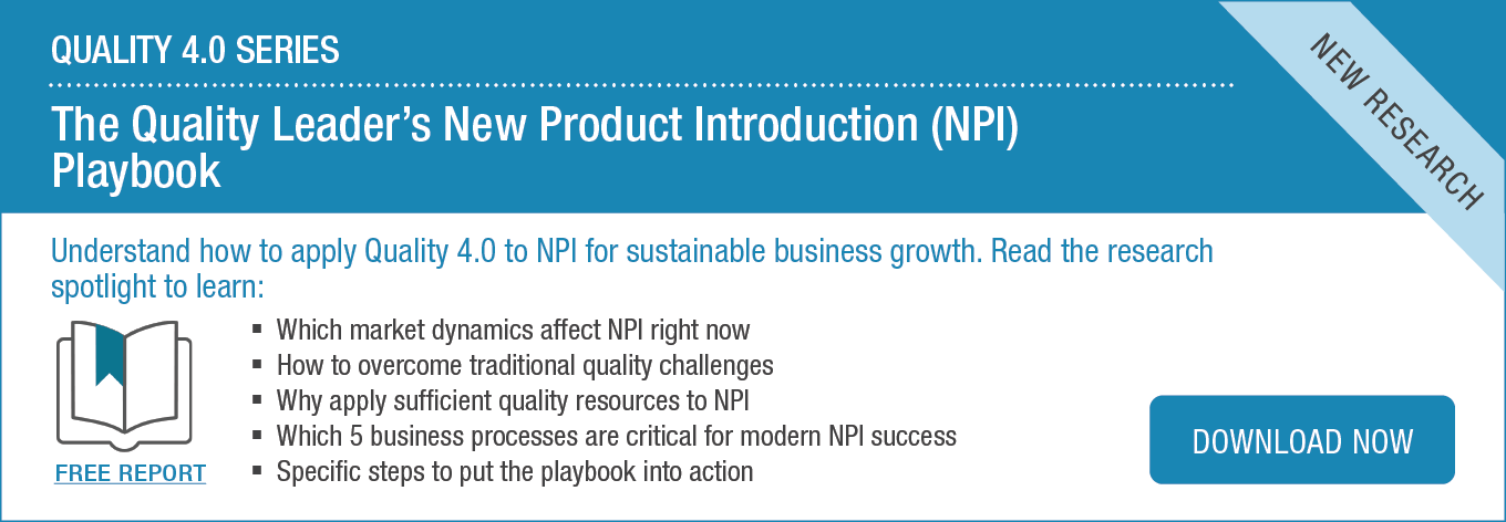 Quality new product introduction (NPI) playbook