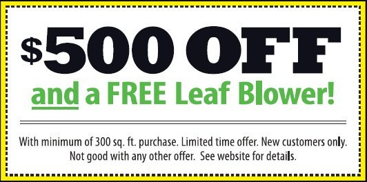 Get up to $500 Off and a free leaf blower with artificial turf lawn from Heavenly Greens