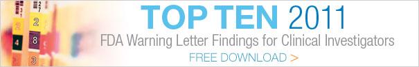 Top 10 FDA Warning Letter Findings, 2011