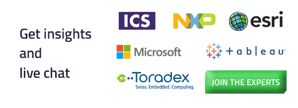 Get Insights and chat with the participants like Microsoft, Tableau, ICS, NXP, Esri, Toradex, and more!