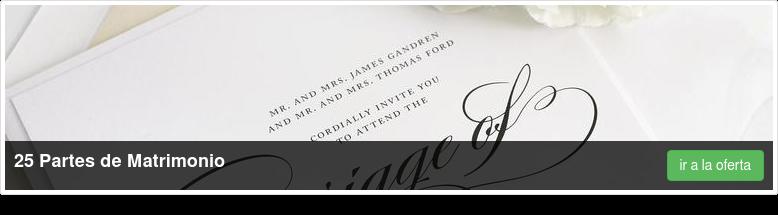 25 Partes de Matrimonio    * 11 x 28 cms   * Cambric Silk 270 grs.   * 4/4 ir a la oferta
