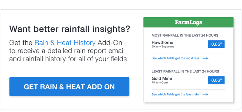 Get better rainfall insights with the FarmLogs Rain & Heat History Add-On »