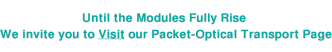 Until the Modules Fully Rise  We invite you to Visit our Packet-Optical Transport Page