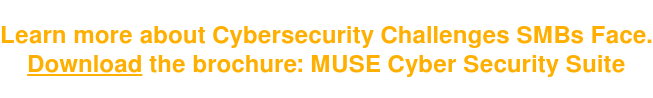Learn more about Cybersecurity Challenges SMBs Face. Download the brochure: MUSE Cyber Security Suite
