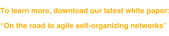 """To learn more, download our latest white paper:   """"On the road to agile self-organizing networks"""""""