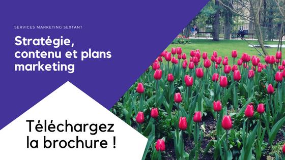 téléchargez la brochure des services marketing sextant : stratégie, contenu et plans marketing
