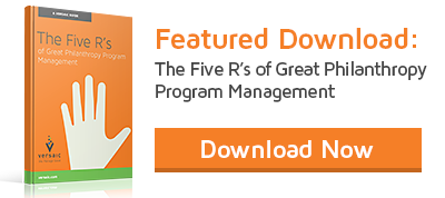 Download the 5 R's to Great Philanthropy Program Management Ebook!