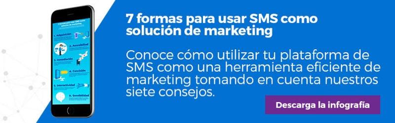 """Regístrate y descarga la infografía """"7 formas para usar SMS como solución de marketing"""""""