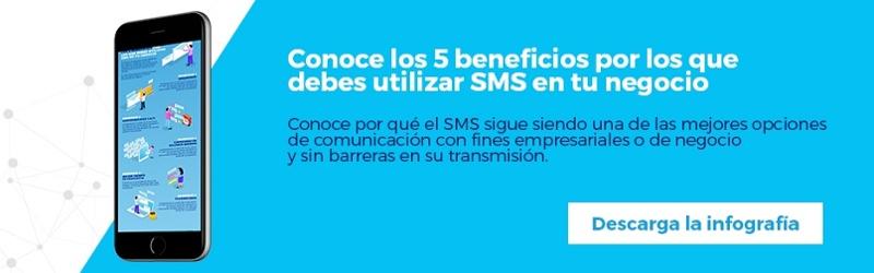 Descarga gratis la infografía Los 5 beneficios por los que debes utilizar SMS en tu negocio