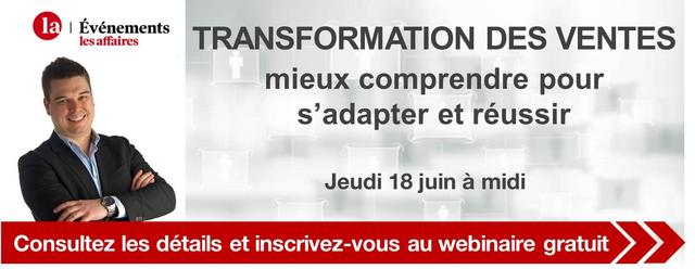 Webinaire gratuit - Les affaires - Transformation des ventes - Prima Ressource - Frédéric Lucas