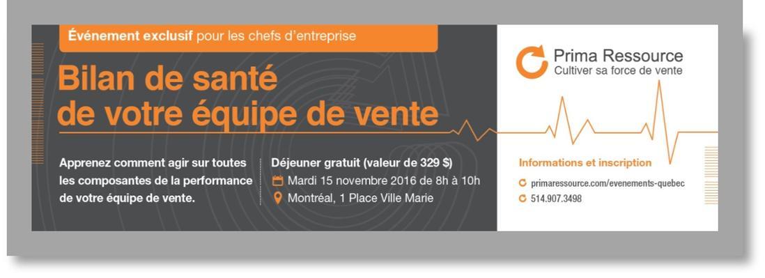 Bilan de santé de votre équipe de vente Prima Ressource événement Montréal chef d'entreprise