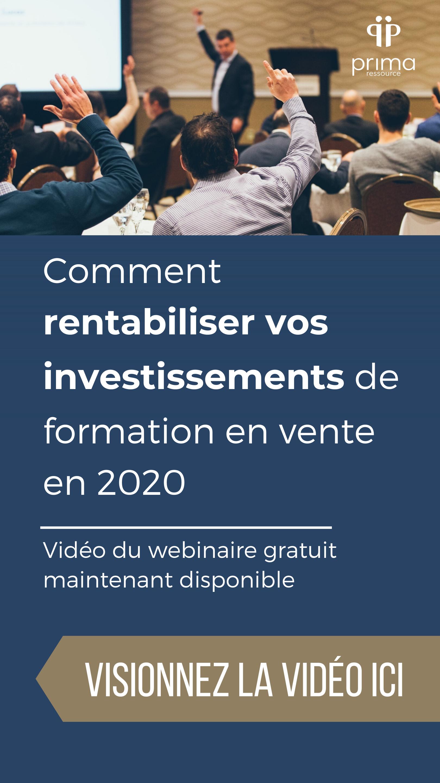 Webinaire étude formation rentabiliser investissement formation en vente Québec Canada