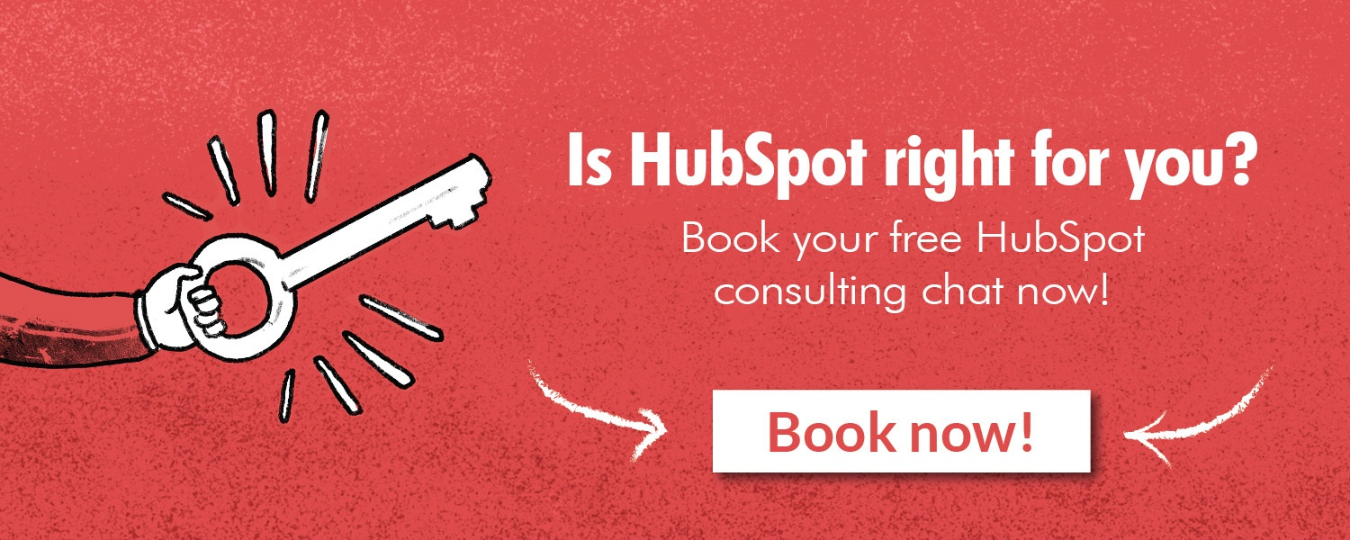 """Is HubSpot right for you?"" CTA graphic with an option to book now. Includes an illustrated hand with an illustrated key."
