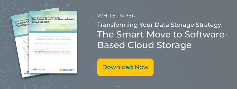 "Image with thumbnail cover of white paper and text: Transforming Your Data Storage Strategy: The Smart Move to Software-Based Cloud Storage, image includes button with ""download now"""