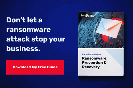 Ransomware: Prevention and Recovery guide on black and blue background
