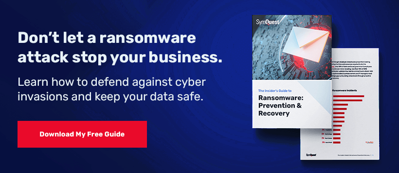 Ransomware Prevention and Recovery guide on black and blue background