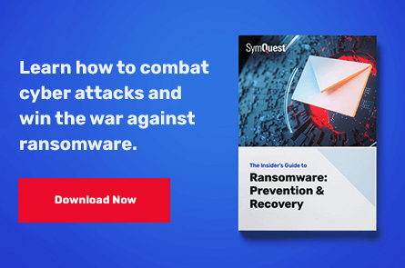 Ransomware guide on a bright blue background