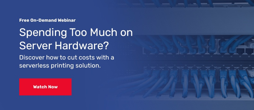 Business IT hardware with blue cables