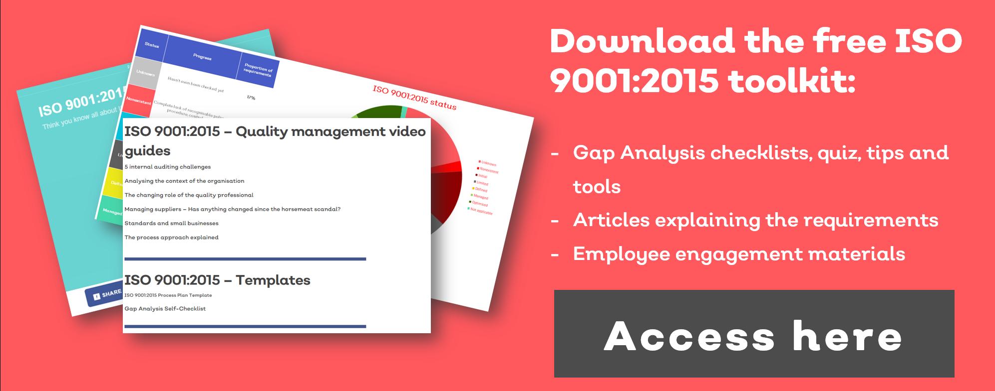 ISO 9001:2015 free pdf xls