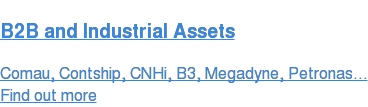 B2B and Industrial Assets Comau, Contship, CNHi, B3, Megadyne, Petronas... Find out more