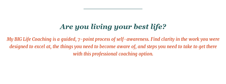 Are you living your best life?  My BIG Life Coaching is a guided, 7-point process of self-awareness. Find  clarity in the work you were designed to excel at, the things you need to  become aware of, and steps you need to take to get there with this professional  coaching option.