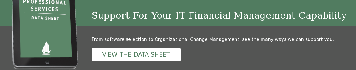 Support For Your IT Financial Management Capability From software selection to  Organizational Change Management, see the many ways we can support you. VIEW  THE DATA SHEET