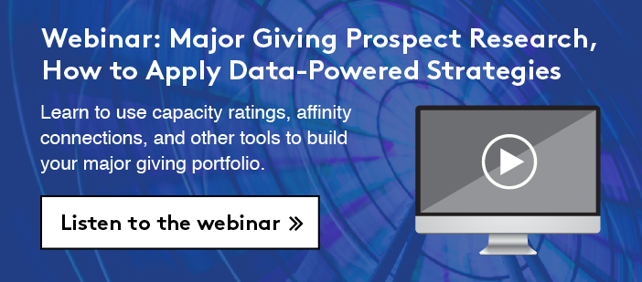 Webinar: Major Giving Prospect Research