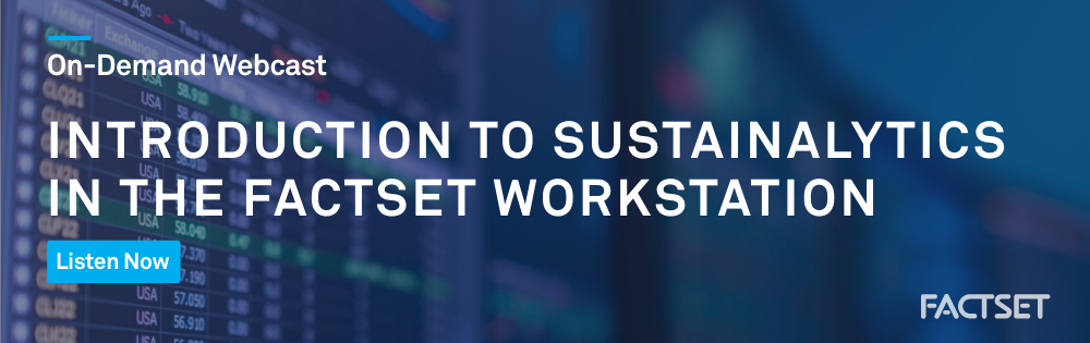 Introduction to Sustainalytics in the FactSet Workstation