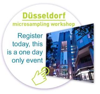 graphic icon with photo of the hotel where the microsampling workshop will be held in Dusseldorf Germany - click to sign up