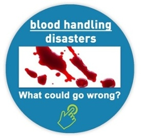 an image of blood splatter - click to read an article about wet blood handling disasters