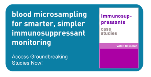 click to download case studies demonstrating the viability of suing a remote blood collection method in monitoring immunosuppresant drugs