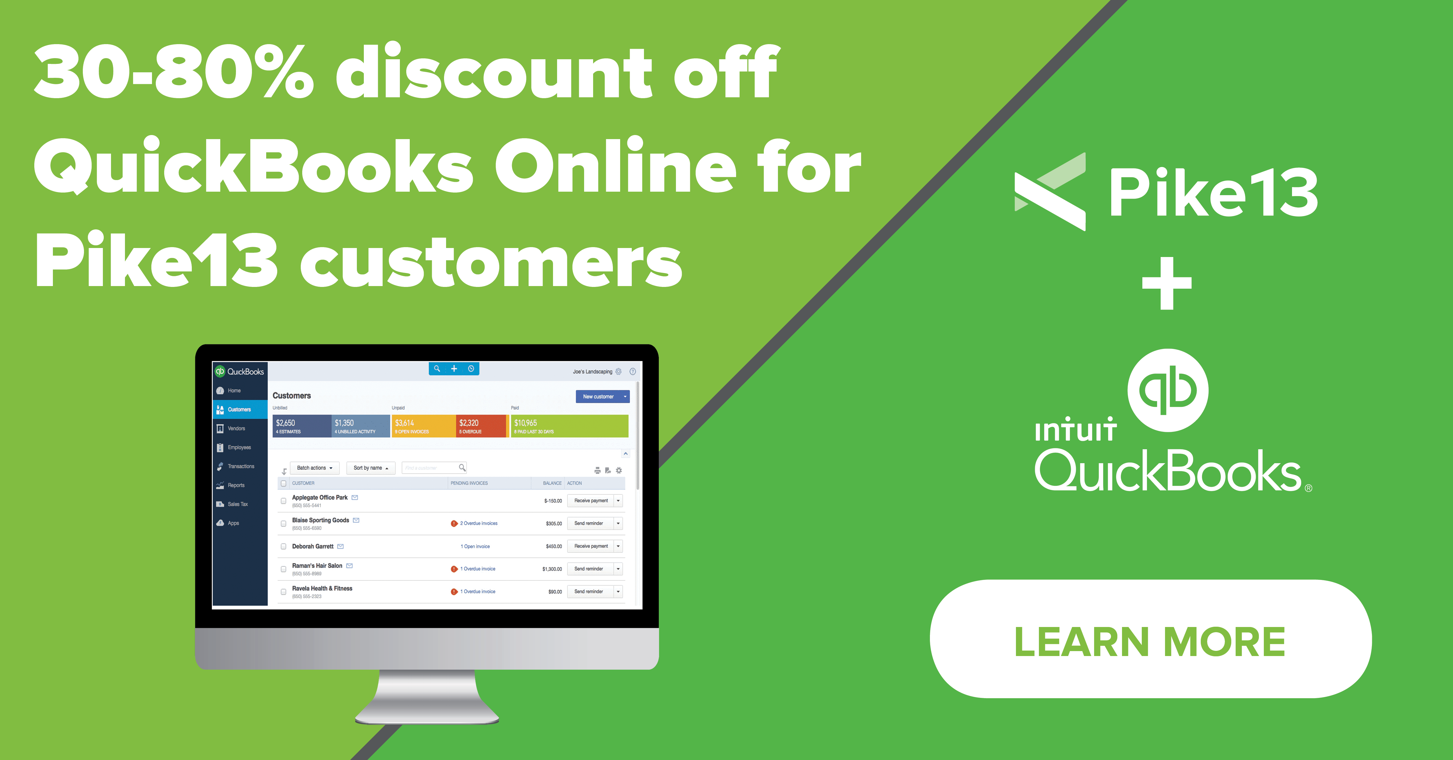 Pike13 Customers Receive 30%-80% off QuickBooks Online